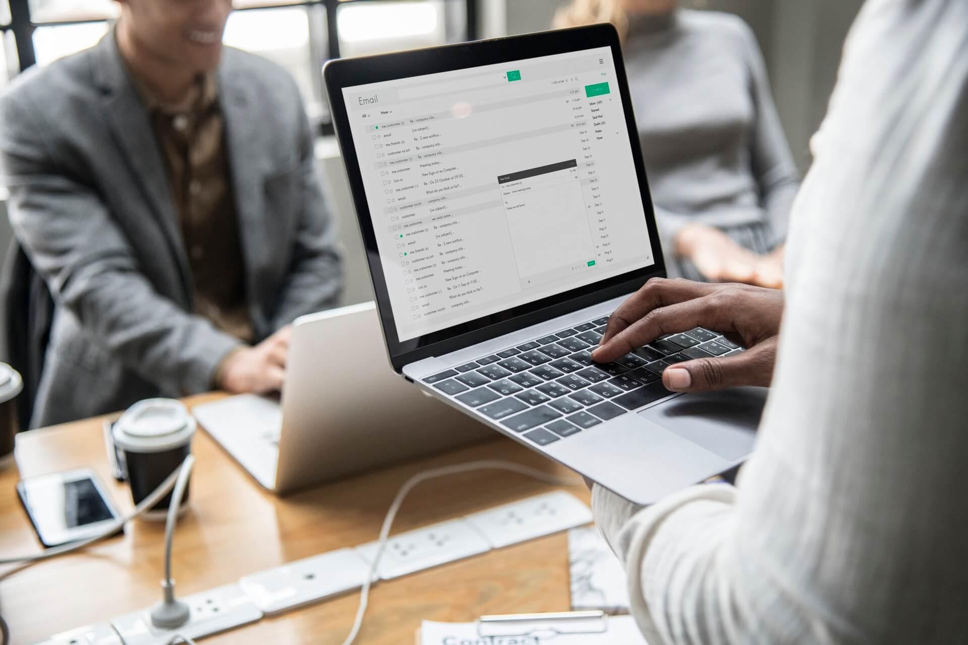 using laptop during meetings